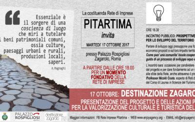 Martedì 17 Ottobre: Presentazione del Progetto Destinazione Zagarolo e della Rete di Imprese Pitartima