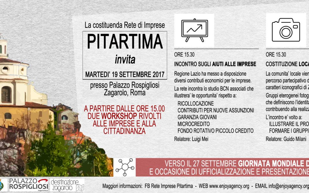Martedì 19 Settembre: due workshop per avviare i lavori della Rete di Imprese Pitartima